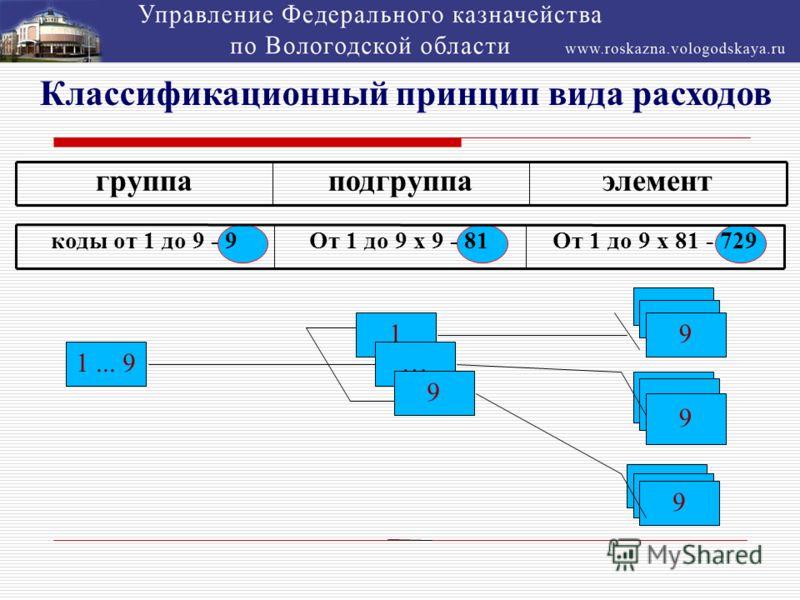 Классификационный принцип вида расходов группаподгруппаэлемент коды от 1 до 9 - 9От 1 до 9 х 9 - 81От 1 до 9 х 81 - 729 1 1... 9 1 … 9 9 2 9 9