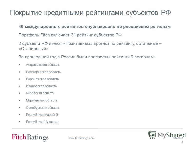 9/24/2012 4 www.fitchratings.com Покрытие кредитными рейтингами субъектов РФ 49 международных рейтингов опубликовано по российским регионам Портфель Fitch включает 31 рейтинг субъектов РФ 2 субъекта РФ имеют «Позитивный» прогноз по рейтингу, остальны