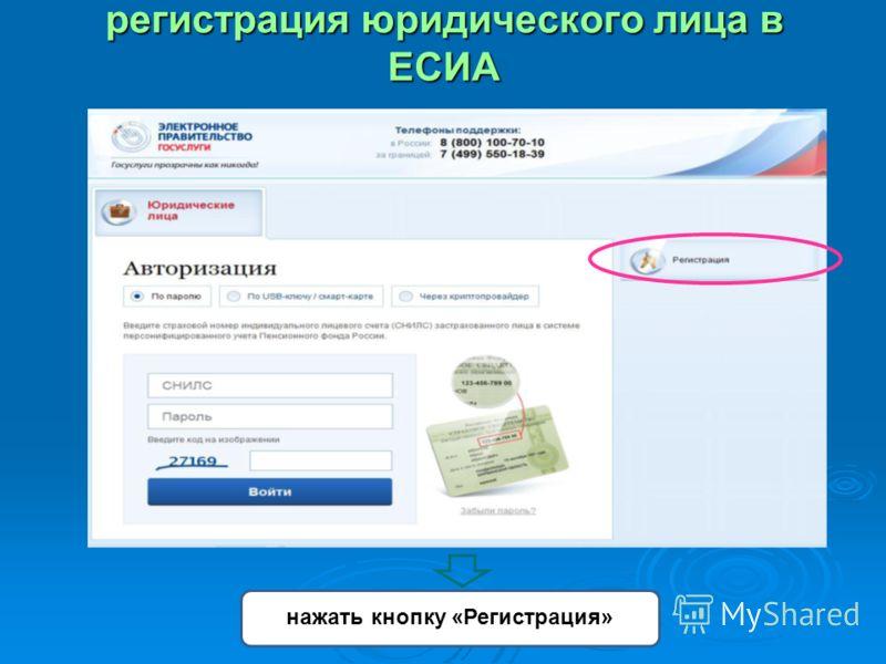 регистрация юридического лица в ЕСИА нажать кнопку «Регистрация»
