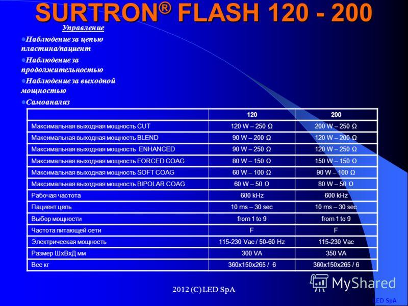 2012 (C) LED SpA SURTRON FLASH – это аппарат для диатермокоагуляции, предназначенный для микрохирургии, а также для точной монополярной и биполярной хирургии. SURTRON FLASH может подавать радиочастотную энергию либо в течение запрограммированного вре