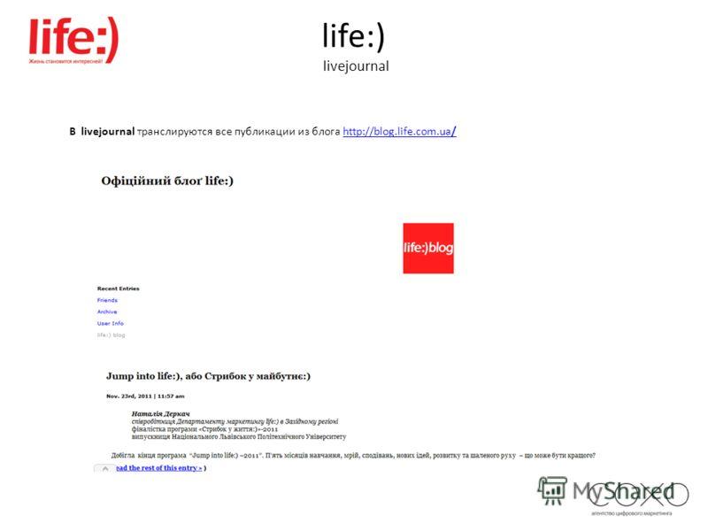 life:) livejournal В livejournal транслируются все публикации из блога http://blog.life.com.ua/http://blog.life.com.ua/