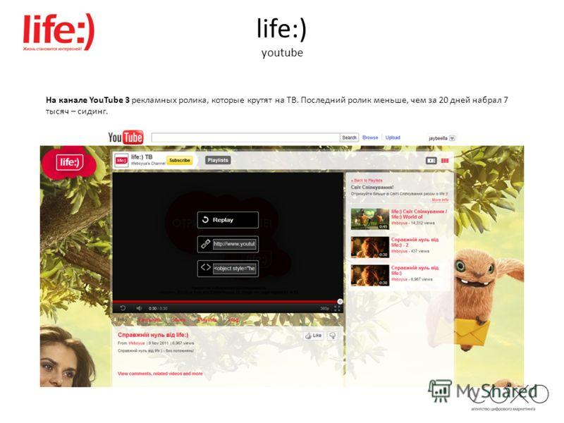 life:) youtube На канале YouTube 3 рекламных ролика, которые крутят на ТВ. Последний ролик меньше, чем за 20 дней набрал 7 тысяч – сидинг.
