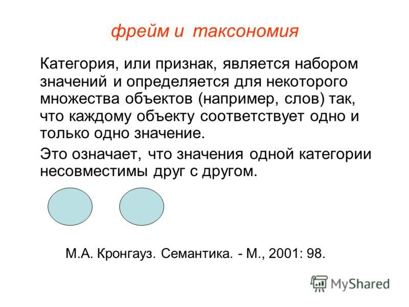 фрейм итаксономия Категория, или признак, является набором значений и определяется для некоторого множества объектов (например, слов) так, что каждому объекту соответствует одно и только одно значение. Это означает, что значения одной категории несов