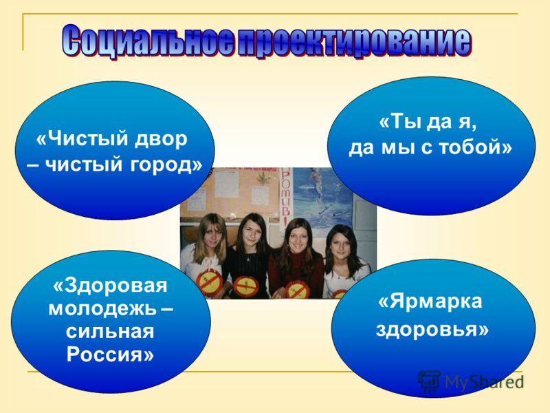 «Чистый двор – чистый город» «Ты да я, да мы с тобой» «Здоровая молодежь – сильная Россия» «Ярмарка здоровья»