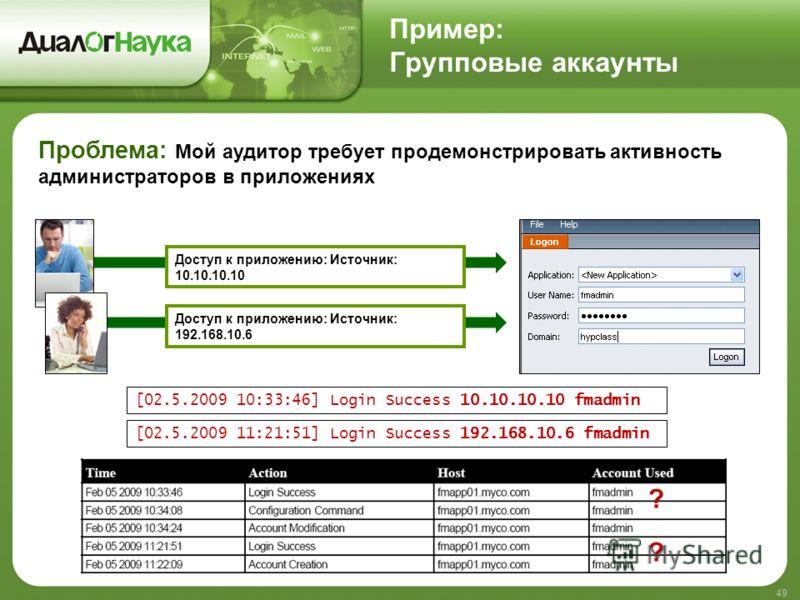 Пример: Групповые аккаунты 49 Доступ к приложению: Источник: 10.10.10.10 [02.5.2009 10:33:46] Login Success 10.10.10.10 fmadmin Доступ к приложению: Источник: 192.168.10.6 [02.5.2009 11:21:51] Login Success 192.168.10.6 fmadmin ? ? Проблема: Мой ауди