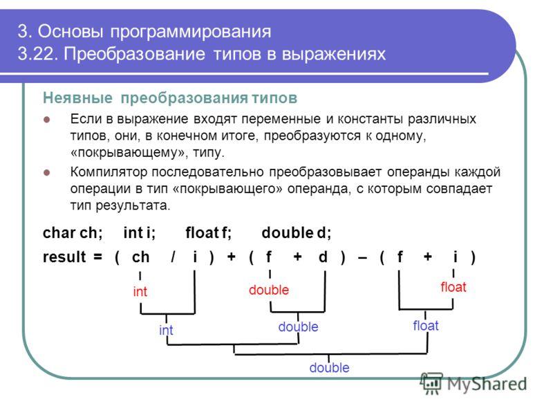 3. Основы программирования 3.22. Преобразование типов в выражениях Неявные преобразования типов Если в выражение входят переменные и константы различных типов, они, в конечном итоге, преобразуются к одному, «покрывающему», типу. Компилятор последоват
