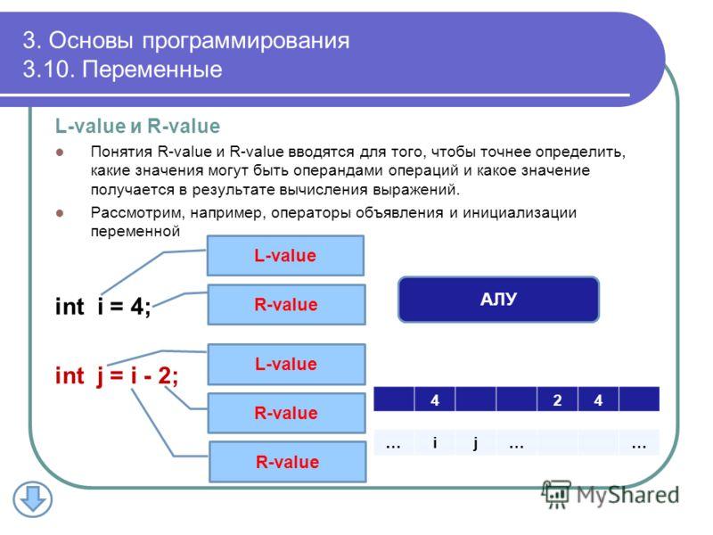 3. Основы программирования 3.10. Переменные L-value и R-value Понятия R-value и R-value вводятся для того, чтобы точнее определить, какие значения могут быть операндами операций и какое значение получается в результате вычисления выражений. Рассмотри