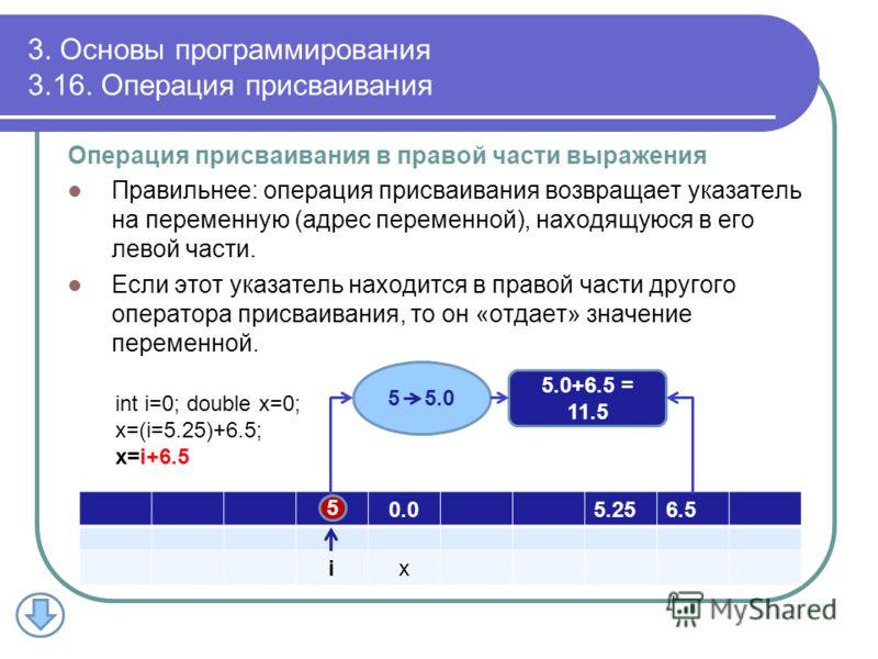 3. Основы программирования 3.16. Операция присваивания Операция присваивания в правой части выражения Правильнее: операция присваивания возвращает указатель на переменную (адрес переменной), находящуюся в его левой части. Если этот указатель находитс