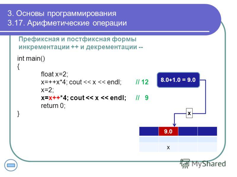 3. Основы программирования 3.17. Арифметические операции Префиксная и постфиксная формы инкрементации ++ и декрементации -- int main() { float x=2; x=++x*4; cout