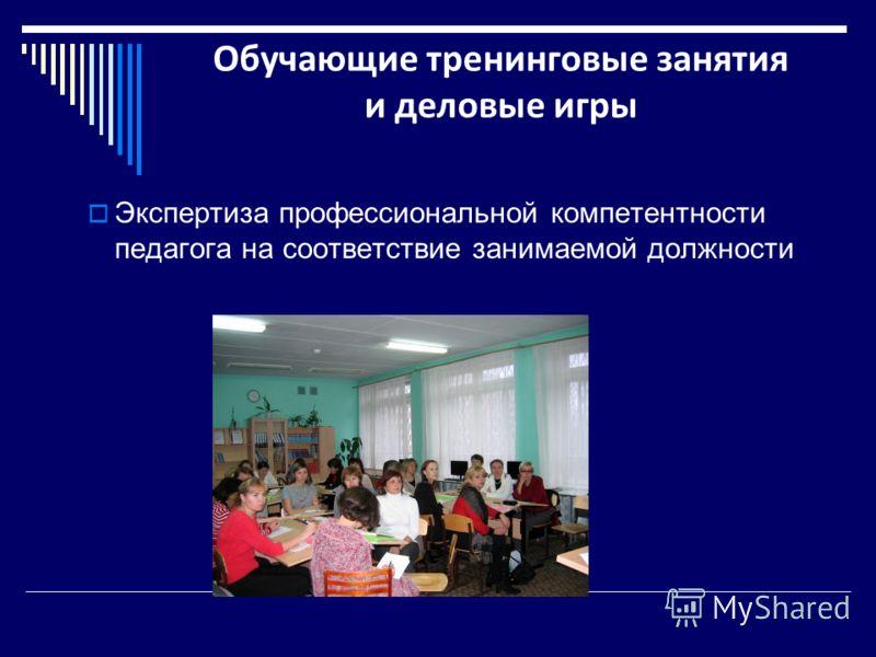 Экспертиза профессиональной компетентности педагога на соответствие занимаемой должности Обучающие тренинговые занятия и деловые игры