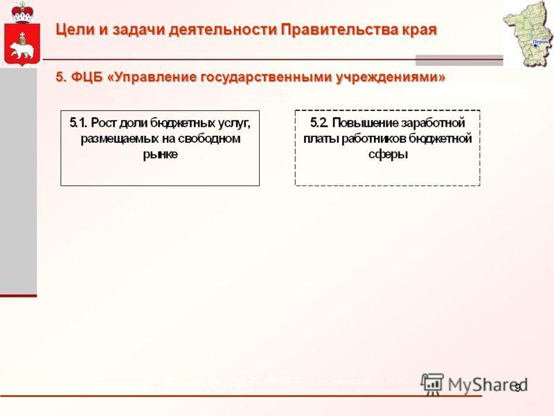 9 Цели и задачи деятельности Правительства края 5. ФЦБ «Управление государственными учреждениями»
