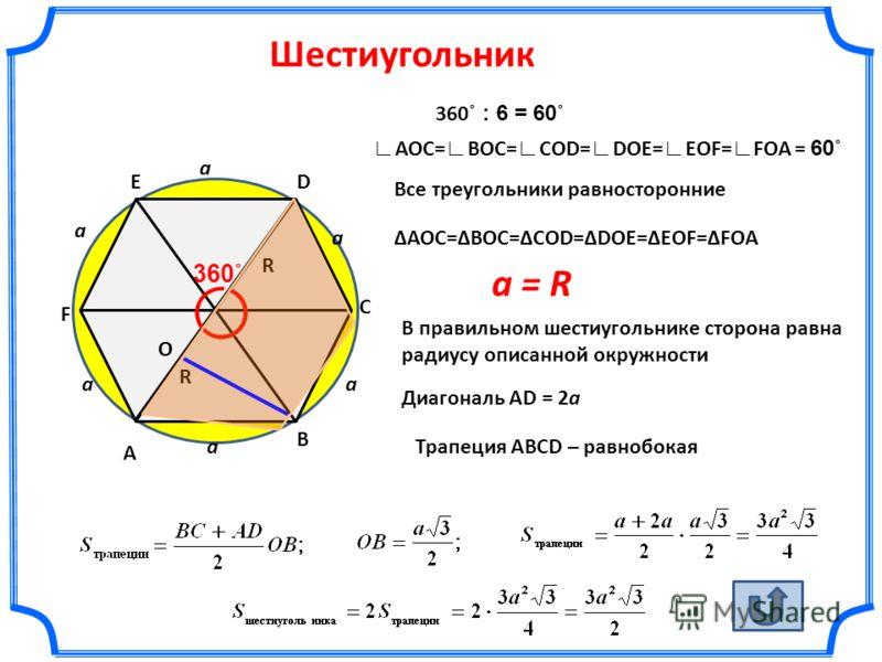 Шестиугольник а а а аа А В F ED С О 360˚ АОС=ВОС=СОD=DOE=EOF=FOA Все треугольники равносторонние R R a = R В правильном шестиугольнике сторона равна радиусу описанной окружности 360 ˚ : 6 = 60˚ а АОС= ВОС= СОD= DOE= EOF= FOA = 60˚ Диагональ AD = 2а Т