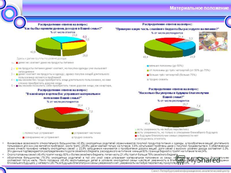 Санкт-Петербургский информационно-аналитический центр Материальное положение Финансовые возможности относительного большинства (42,8%) многодетных родителей ограничиваются покупкой продуктов питания и одежды, а приобретение вещей длительного пользова