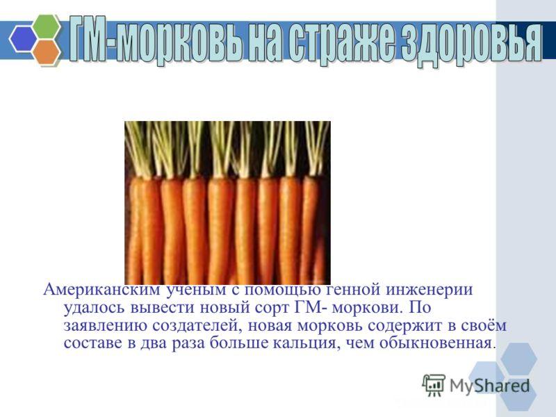 Американским учёным с помощью генной инженерии удалось вывести новый сорт ГМ- моркови. По заявлению создателей, новая морковь содержит в своём составе в два раза больше кальция, чем обыкновенная.