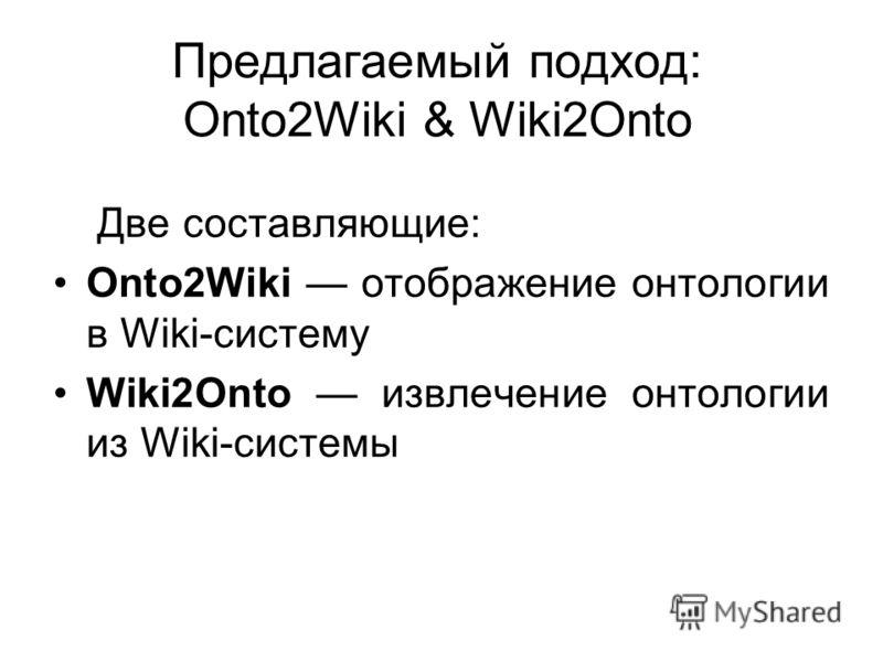 Предлагаемый подход: Onto2Wiki & Wiki2Onto Две составляющие: Onto2Wiki отображение онтологии в Wiki-систему Wiki2Onto извлечение онтологии из Wiki-системы