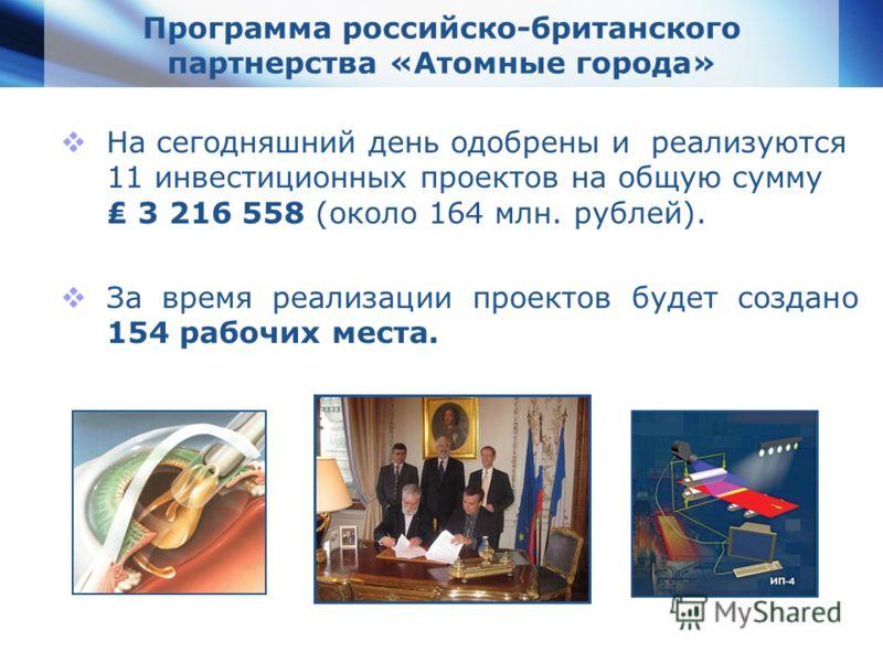 www.themegallery.com Company Logo Программа российско-британского партнерства «Атомные города» На сегодняшний день одобрены и реализуются 11 инвестиционных проектов на общую сумму 3 216 558 (около 164 млн. рублей). За время реализации проектов будет