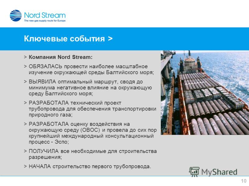 Ключевые события > >Компания Nord Stream: >ОБЯЗАЛАСЬ провести наиболее масштабное изучение окружающей среды Балтийского моря; >ВЫЯВИЛА оптимальный маршрут, сводя до минимума негативное влияние на окружающую среду Балтийского моря; >РАЗРАБОТАЛА технич