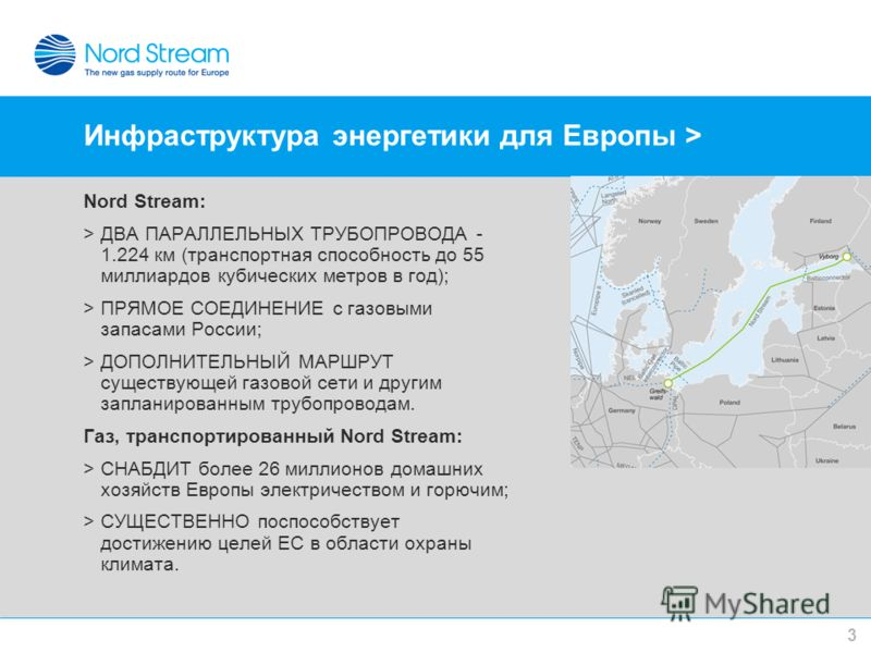 Инфраструктура энергетики для Европы > Nord Stream: >ДВА ПАРАЛЛЕЛЬНЫХ ТРУБОПРОВОДА - 1.224 км (транспортная способность до 55 миллиардов кубических метров в год); >ПРЯМОЕ СОЕДИНЕНИЕ с газовыми запасами России; >ДОПОЛНИТЕЛЬНЫЙ МАРШРУТ существующей газ