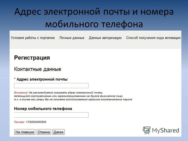 Адрес электронной почты и номера мобильного телефона