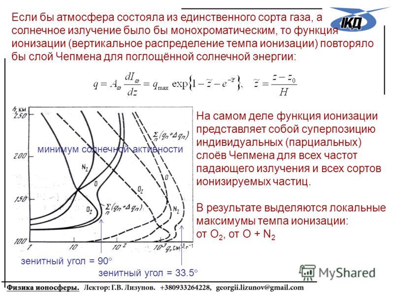Если бы атмосфера состояла из единственного сорта газа, а солнечное излучение было бы монохроматическим, то функция ионизации (вертикальное распределение темпа ионизации) повторяло бы слой Чепмена для поглощённой солнечной энергии: На самом деле функ