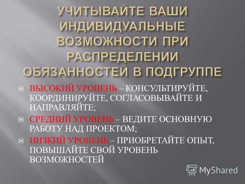 ВЫСОКИЙ УРОВЕНЬ – КОНСУЛЬТИРУЙТЕ, КООРДИНИРУЙТЕ, СОГЛАСОВЫВАЙТЕ И НАПРАВЛЯЙТЕ ; СРЕДНИЙ УРОВЕНЬ – ВЕДИТЕ ОСНОВНУЮ РАБОТУ НАД ПРОЕКТОМ ; НИЗКИЙ УРОВЕНЬ – ПРИОБРЕТАЙТЕ ОПЫТ, ПОВЫШАЙТЕ СВОЙ УРОВЕНЬ ВОЗМОЖНОСТЕЙ