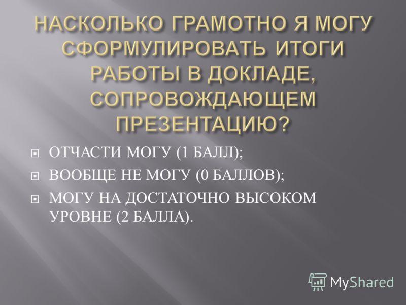 ОТЧАСТИ МОГУ (1 БАЛЛ ); ВООБЩЕ НЕ МОГУ (0 БАЛЛОВ ); МОГУ НА ДОСТАТОЧНО ВЫСОКОМ УРОВНЕ (2 БАЛЛА ).