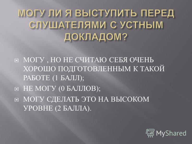 МОГУ, НО НЕ СЧИТАЮ СЕБЯ ОЧЕНЬ ХОРОШО ПОДГОТОВЛЕННЫМ К ТАКОЙ РАБОТЕ (1 БАЛЛ ); НЕ МОГУ (0 БАЛЛОВ ); МОГУ СДЕЛАТЬ ЭТО НА ВЫСОКОМ УРОВНЕ (2 БАЛЛА ).