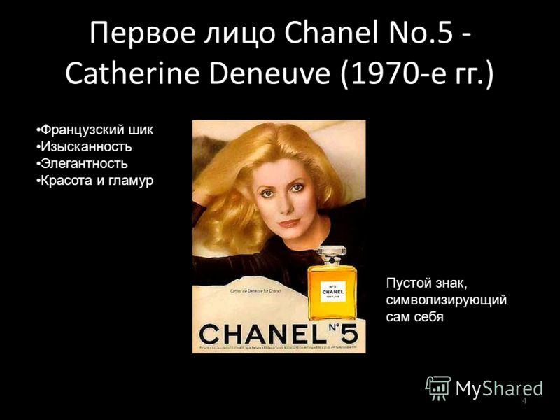 Первое лицо Chanel No.5 - Catherine Deneuve (1970-е гг.) 4 Французский шик Изысканность Элегантность Красота и гламур Пустой знак, символизирующий сам себя
