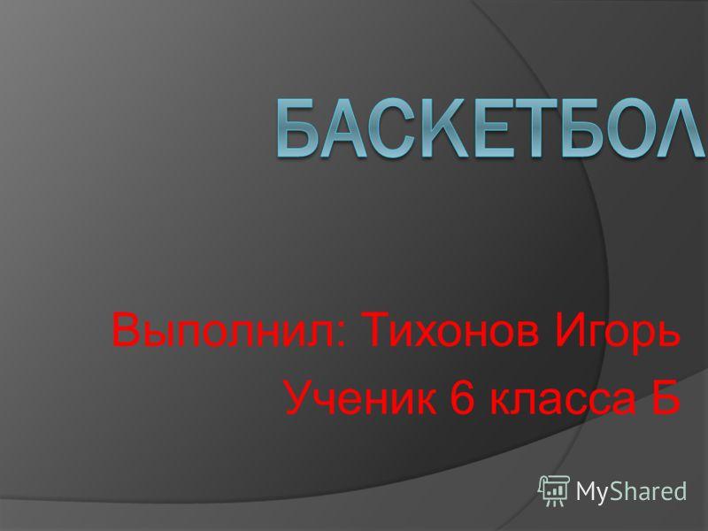 Выполнил: Тихонов Игорь Ученик 6 класса Б