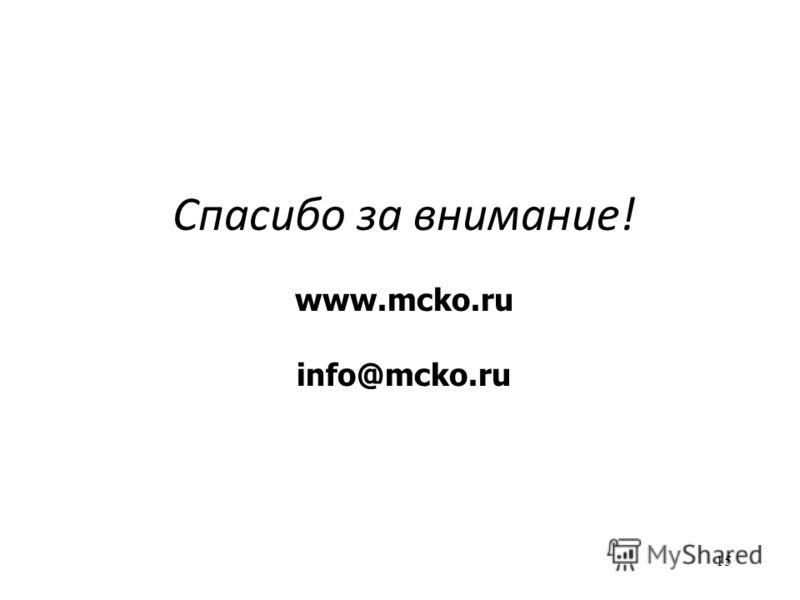 15 Спасибо за внимание! www.mcko.ru info@mcko.ru