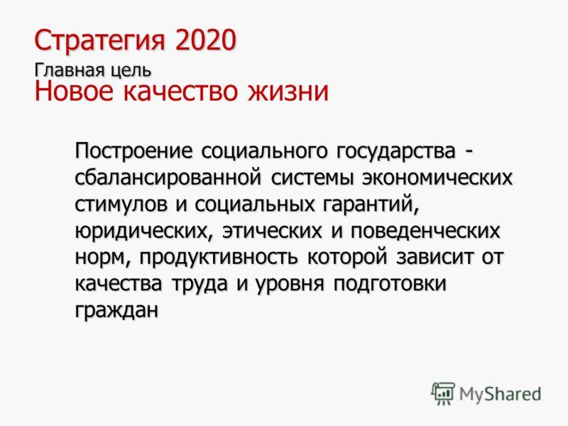 9 Стратегия 2020 Главная цель Стратегия 2020 Главная цель Новое качество жизни Построение социального государства - сбалансированной системы экономических стимулов и социальных гарантий, юридических, этических и поведенческих норм, продуктивность кот