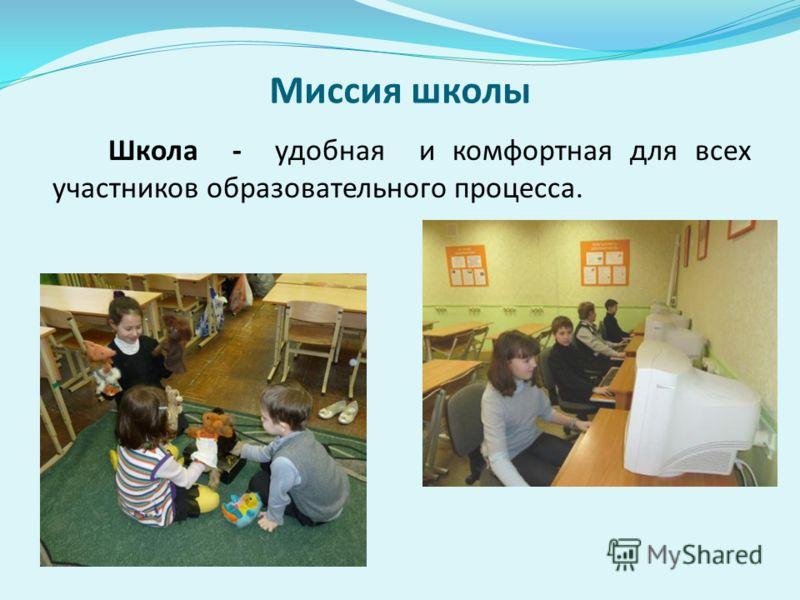Миссия школы Школа - удобная и комфортная для всех участников образовательного процесса.