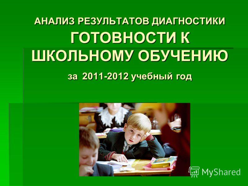 АНАЛИЗ РЕЗУЛЬТАТОВ ДИАГНОСТИКИ ГОТОВНОСТИ К ШКОЛЬНОМУ ОБУЧЕНИЮ за 2011-2012 учебный год