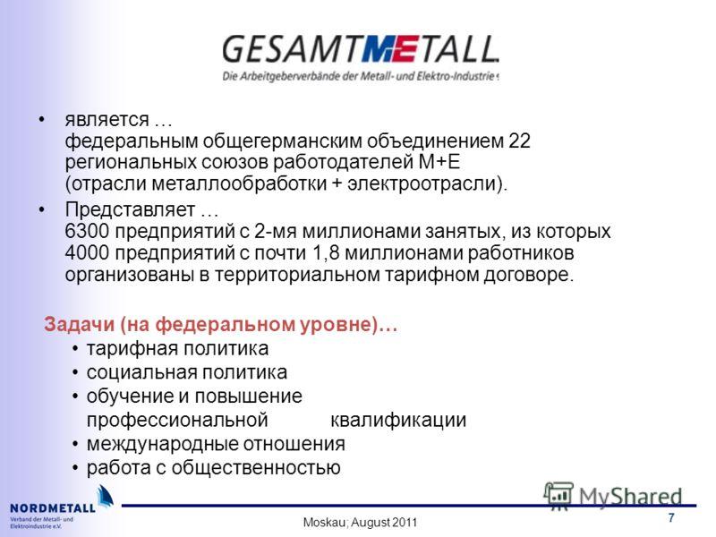 Moskau; August 2011 7 является … федеральным общегерманским объединением 22 региональных союзов работодатeлeй M+E (отрасли металлообработки + электроотрасли). Представляет … 6300 предприятий с 2-мя миллиoнами занятых, из которых 4000 предприятий с по