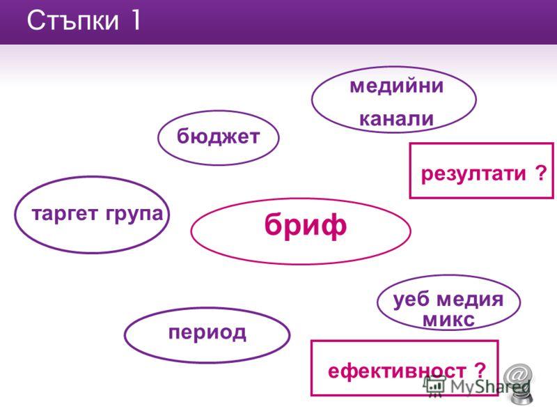 Стъпки 1 бриф таргет група медийни канали уеб медия микс период бюджет резултати ? ефективност ?