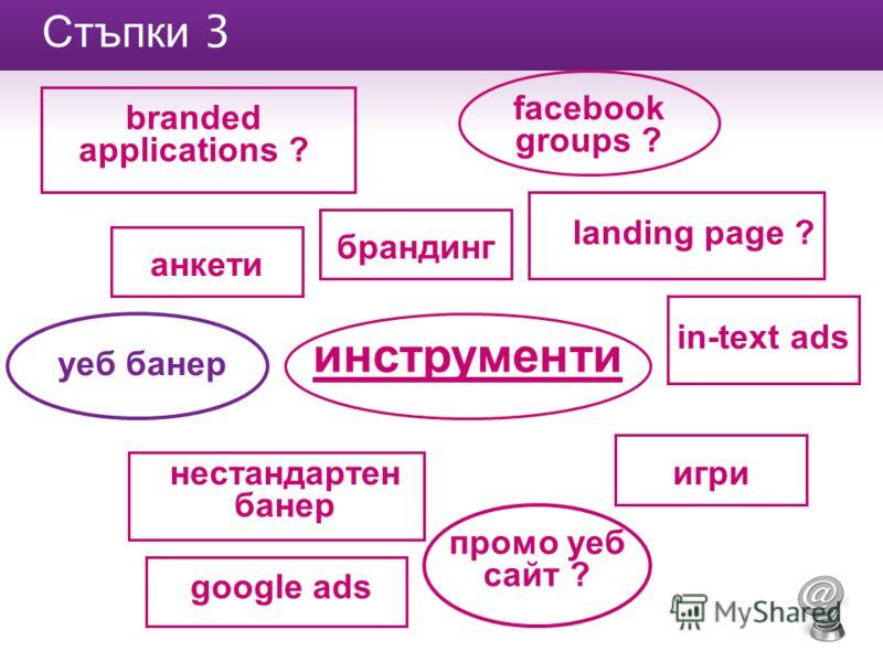 Стъпки 3 инструменти анкети landing page ? игри нестандартен банер брандинг промо уеб сайт ? уеб банер in-text ads branded applications ? facebook groups ? google ads