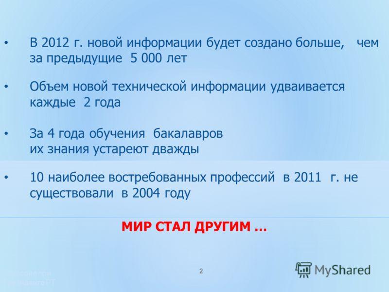 В 2012 г. новой информации будет создано больше, чем за предыдущие 5 000 лет Объем новой технической информации удваивается каждые 2 года За 4 года об