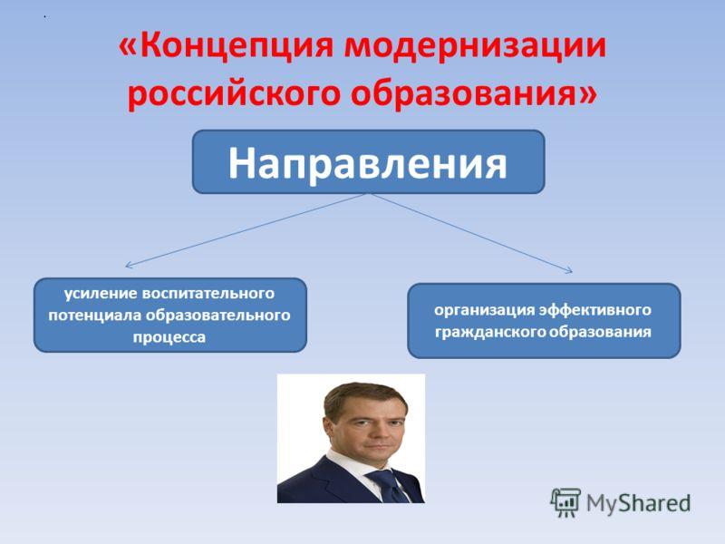 «Концепция модернизации российского образования» Направления усиление воспитательного потенциала образовательного процесса организация эффективного гражданского образования.