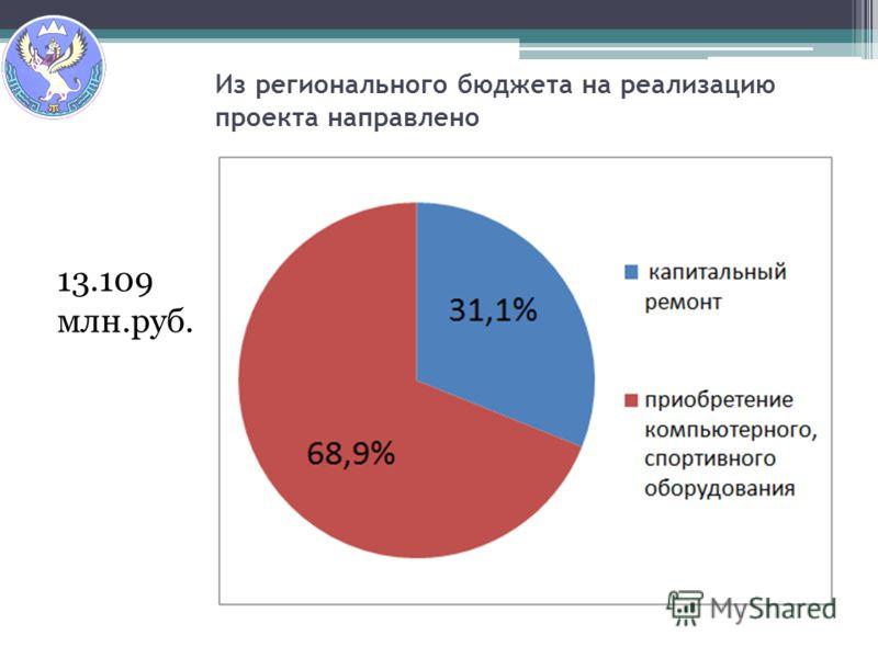 Из регионального бюджета на реализацию проекта направлено 13.109 млн.руб.