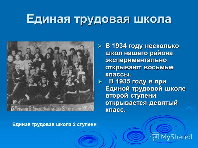 Единая трудовая школа В 1934 году несколько школ нашего района экспериментально открывают восьмые классы. В 1934 году несколько школ нашего района экспериментально открывают восьмые классы. В 1935 году в при Единой трудовой школе второй ступени откры