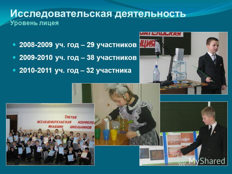 Исследовательская деятельность Уровень лицея 2008-2009 уч. год – 29 участников 2009-2010 уч. год – 38 участников 2010-2011 уч. год – 32 участника