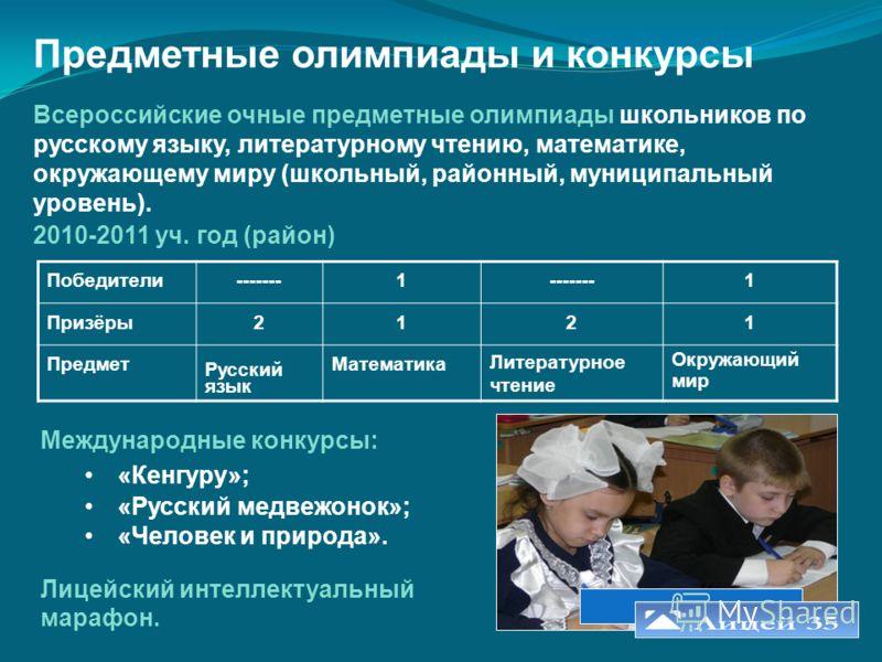 Предметные олимпиады и конкурсы Всероссийские очные предметные олимпиады школьников по русскому языку, литературному чтению, математике, окружающему миру (школьный, районный, муниципальный уровень). 2010-2011 уч. год (район) Победители-------1 1 Приз