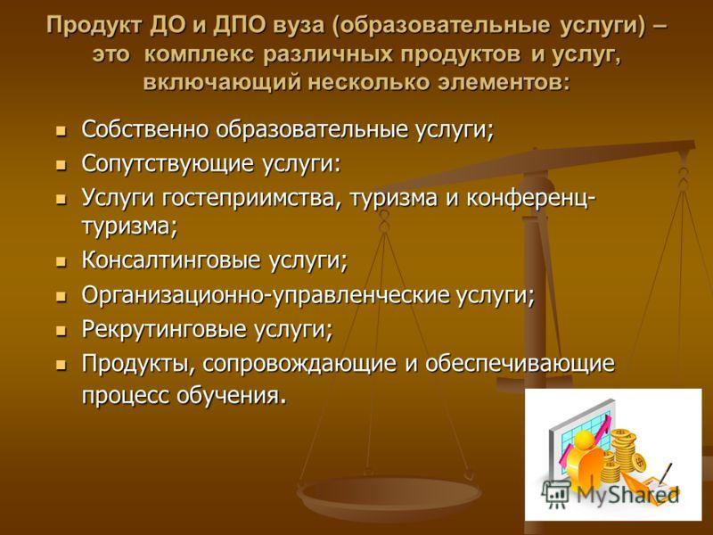 Продукт ДО и ДПО вуза (образовательные услуги) – это комплекс различных продуктов и услуг, включающий несколько элементов: Собственно образовательные услуги; Собственно образовательные услуги; Сопутствующие услуги: Сопутствующие услуги: Услуги гостеп