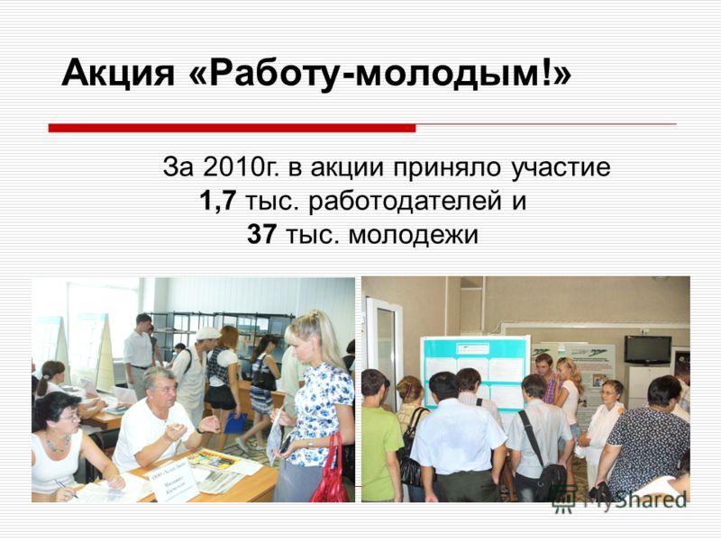 Акция «Работу-молодым!» За 2010г. в акции приняло участие 1,7 тыс. работодателей и 37 тыс. молодежи