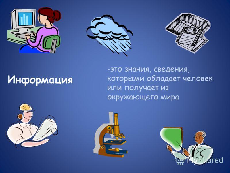 -это знания, сведения, которыми обладает человек или получает из окружающего мира