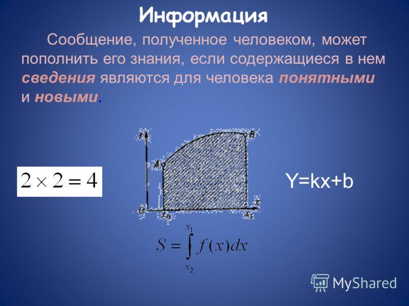 Сообщение, полученное человеком, может пополнить его знания, если содержащиеся в нем сведения являются для человека понятными и новыми. Y=kx+b Информация