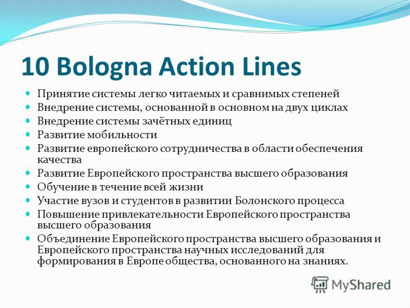 10 Bologna Action Lines Принятие системы легко читаемых и сравнимых степеней Внедрение системы, основанной в основном на двух циклах Внедрение системы зачётных единиц Развитие мобильности Развитие европейского сотрудничества в области обеспечения кач