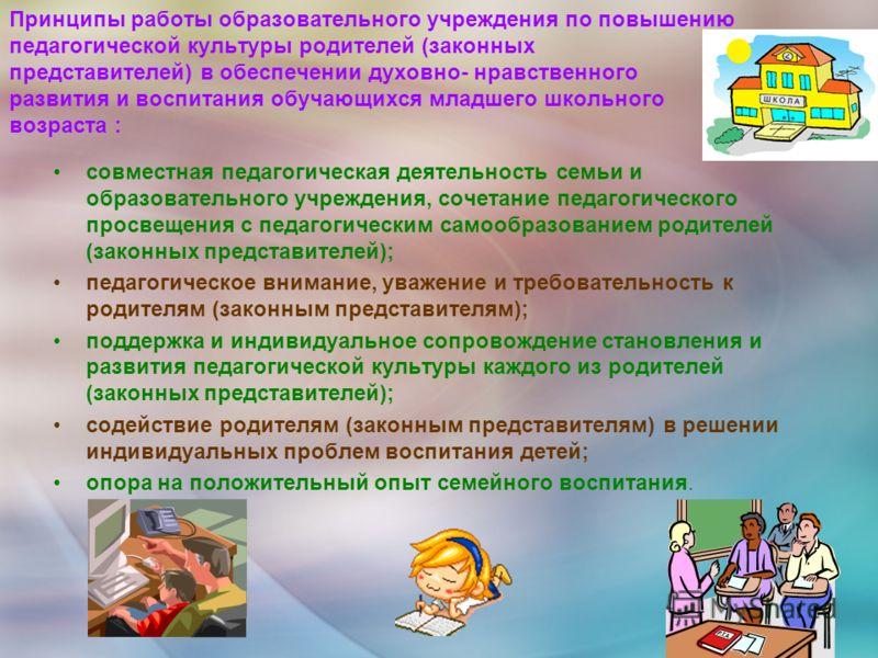 Принципы работы образовательного учреждения по повышению педагогической культуры родителей (законных представителей) в обеспечении духовно- нравственного развития и воспитания обучающихся младшего школьного возраста : совместная педагогическая деятел