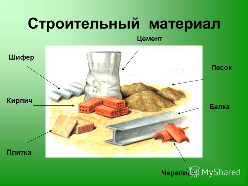 Строительный материал Кирпич Цемент Песок Черепица Шифер Балка Плитка