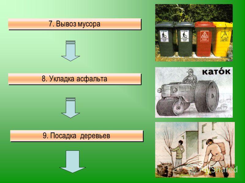7. Вывоз мусора 8. Укладка асфальта 9. Посадка деревьев